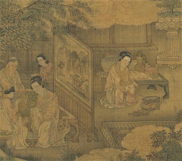 Фрагмент картины «Картина четырёх дочерей, усердно исполняющих дочерний долг», династия Юань