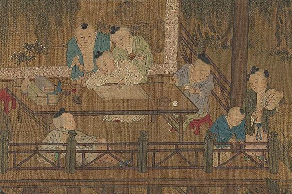 Фрагмент картины «Играющие дети», Су Ханьчен, династия Сун
