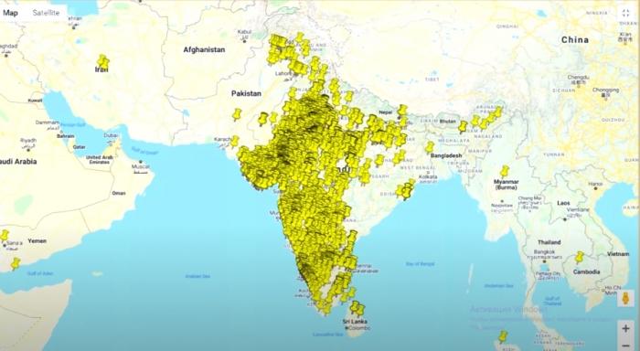 Индийские колодцы на карте