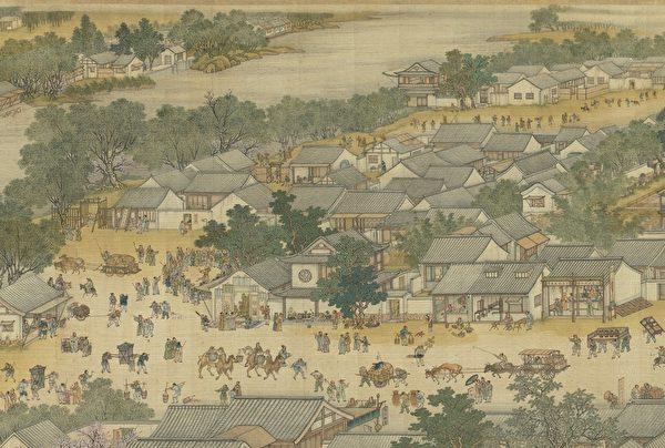 Фрагмент картины «По реке в день поминовения усопших» династия Цин