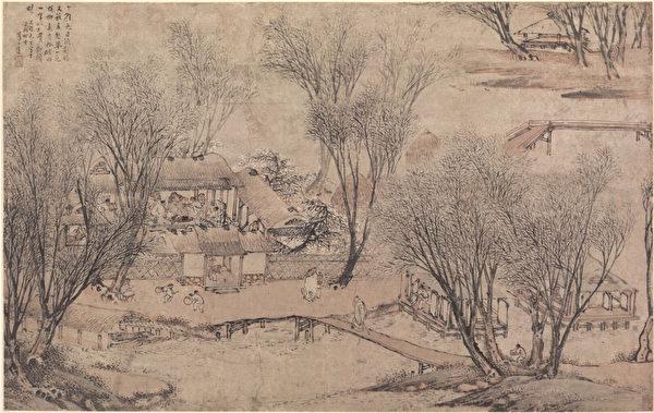 «Новый год в деревне у Каменного озера», Ли Шида (ок. 1549 — ок. 1621), династия Мин