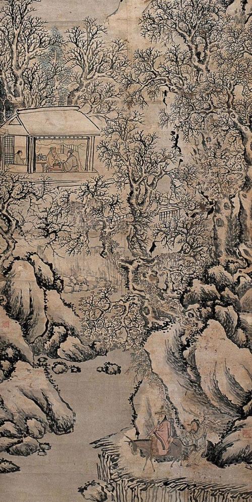 «Верхом на осле любоваться снежным пейзажем», Шэнь Чжоу, династия Мин