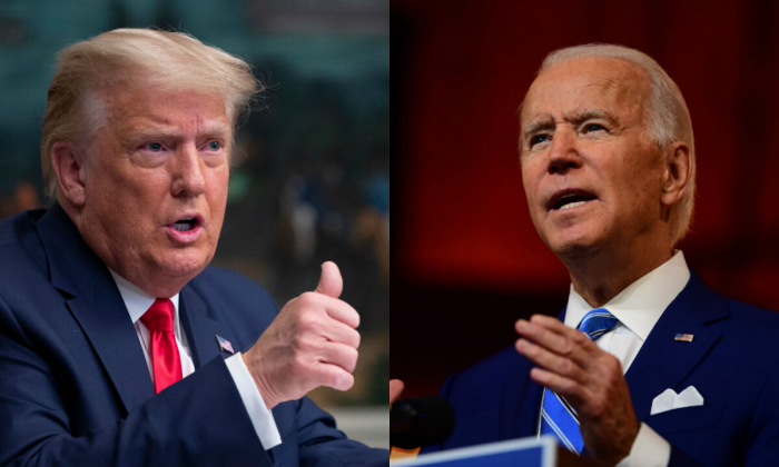 Президент Дональд Трамп (слева) и кандидат в президенты от Демократической партии Джо Байден(справа).