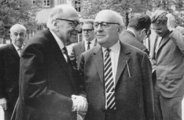Макс Хоркхаймер (слева) и Теодор Адорно, Гейдельберг, 1965 год