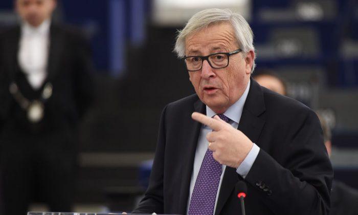 Председатель Европейской комиссии Жан-Клод Юнкер выступает во время дебатов в Европейском парламенте в Страсбурге, Восточная Франция, 16 января 2018 года