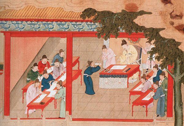 На картине изображены дворцовые экзамены на соискание учёной степени, династия Мин