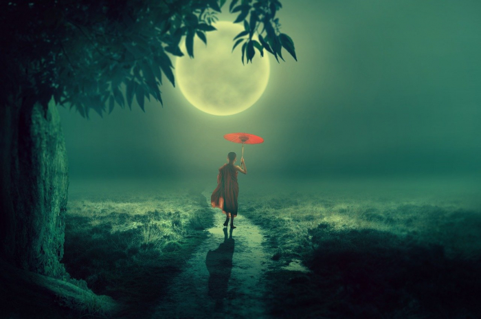 Монах при свете луны