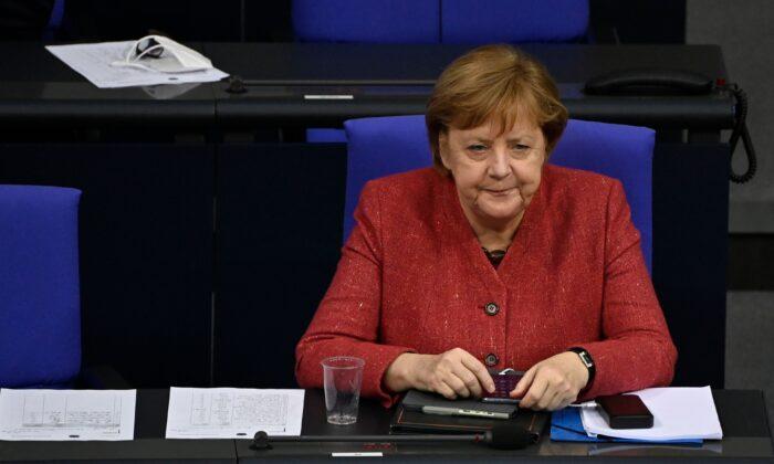 Канцлер Германии Ангела Меркель на дебатах в Бундестаге, Берлин, 9 декабря 2020 года