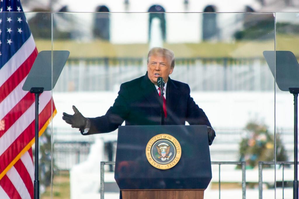 Президент Дональд Трамп выступает во время митинга протеста против сертификации коллегии выборщиков Джо Байдена в Вашингтоне, 6 января 2021 года.