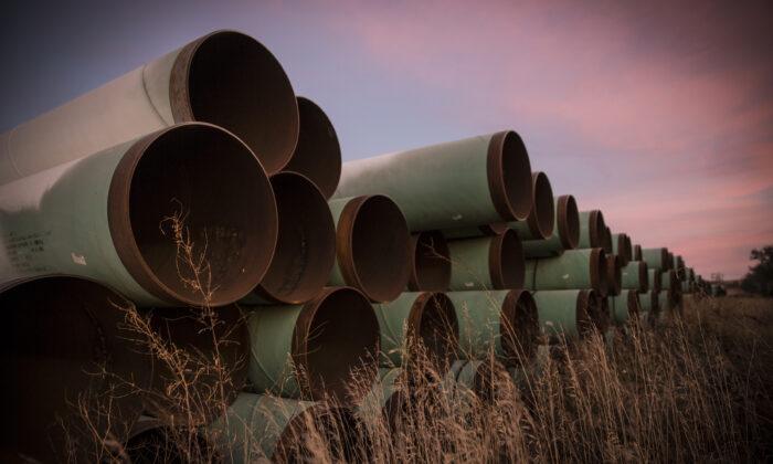 Километры неиспользованных труб, подготовленных для трубопровода Keystone XL, лежат на участке за пределами Гаскойна, Северная Дакота, 14 октября 2014 года