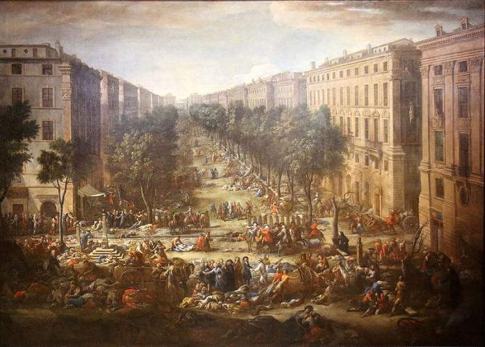 Современная картина Марселя во время Великой чумы