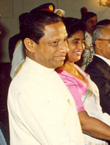 Президент Шри-Ланки Ранасингхе Премадаса в президентской резиденции Бангабхабане в Дакке, Бангладеш, 1992 год