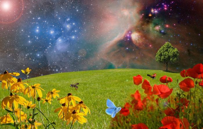 Земля на фоне безбрежной вселенной.