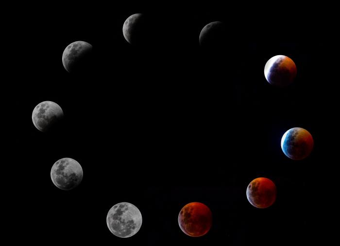 Составное фото показывает все фазы так называемого полного лунного затмения Кровавой Луны в воскресенье, 20 января 2019 года, в Панама-Сити.