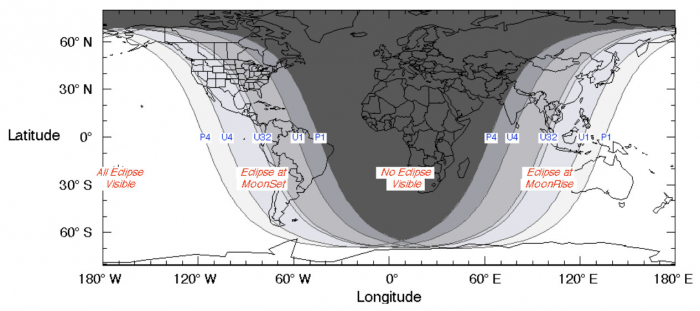 Карта показывает видимость лунного затмения 26 мая 2021 г