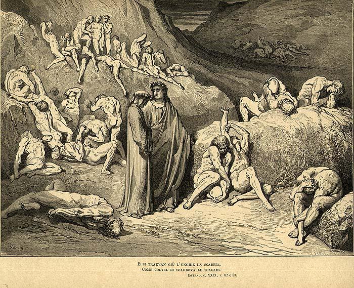 Данте, чума, Иллюстрация , ад