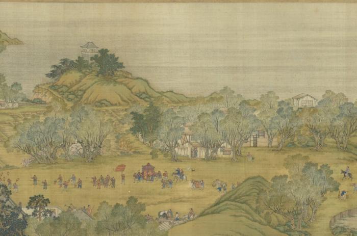 Версия картины династии Цин «Вверх по реке в день Цинмин», на которой изображён жених, идущий в дом невесты, чтобы проводить её на свадьбу. (Courtesy of the National Palace Museum)