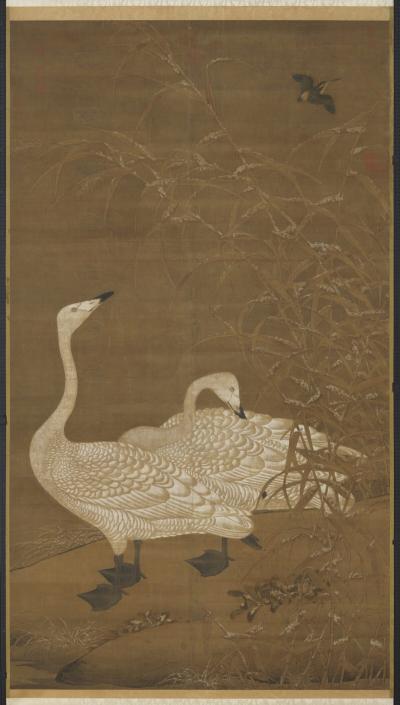 A Пара гусей, укрывающаяся в камышах в непогоду. В конце династии Сун эта картина символизировала супругов, которые вместе страдали, но продолжали любить друг друга. (Courtesy of the National Palace Museum)