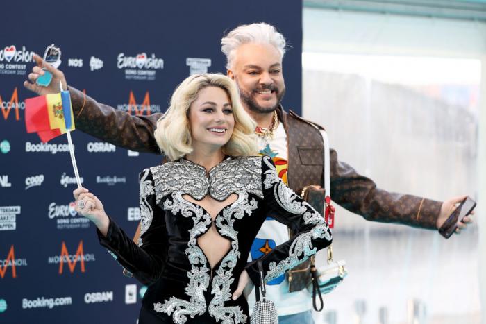 Филипп Киркоров и Наталья Гордиенко на церемонии открытия международного песенного конкурса «Евровидение-2021»в Роттердаме, 16 мая 2021 года.