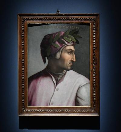 Портрет Данте Алигьери, около 1560 года, работы Кристофано дель Альтиссимо. Масло на панели. Коллекция Джовианы, Галерея Уффици, Флоренция. (Fabio Blaco / The Uffizi Galleries)