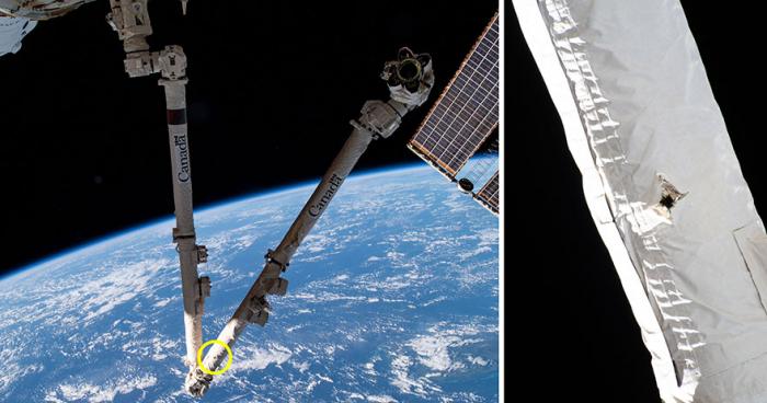 МКС, дыра в МКС, манипулятор МКС, космос, Земля