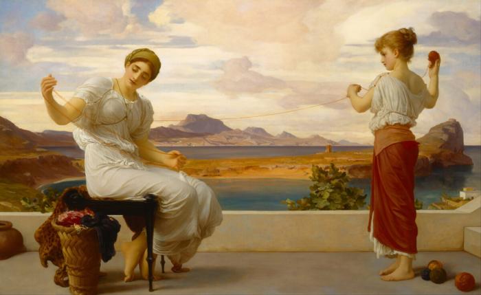 Сохранение традиций: картина Фредерика Лейтона «Наматывание клубка»