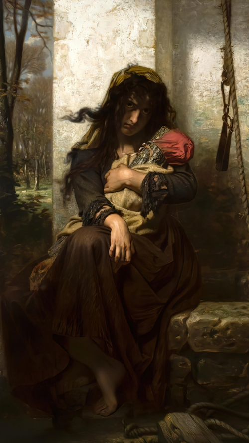 Таинственная дама с поленом на картине Гуго Мерле