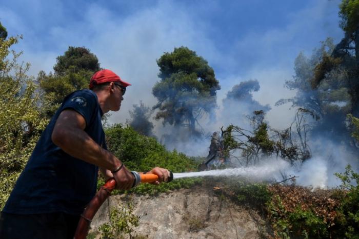 Сильный лесной пожар в Греции продолжается уже седьмой день