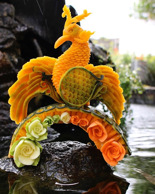 Карвинг — произведения искусства из овощей и фруктов