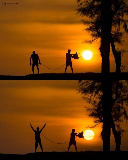 Игры с заходящим солнцем и полной луной