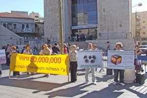 Иерусалим, Израиль: Участники митинга держат плакаты с описанием преступлений компартии Китая. 11 ноября 2005 г. Фото: Иаира Иасмин/The Epoch Times