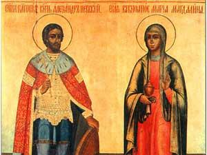 Старинная икона с изображением Александра Невского и равноапостольной Марии МагФото предоставлено авторомдалины.